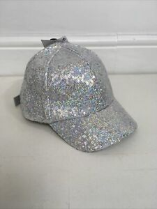 M&S Hat Baseball Cap Silver Sequin Age 6-10 Years BNWTS Sparkly Glitter Party