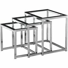 Seconique Henley Nest of Tables Clear Glass with Black Border