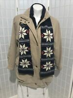 Women's Small Forecaster of Boston Natural Tan Lined Zip up Quilted Winter Coat