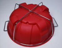 Red Large Bundt Cake Pan Bakeware Silicone Mold with Silver Holder