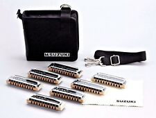 Suzuki Manji 7 Harmonica Set A Bb C D F G Plus Case USA DEALER & w/USA WARRANTY!