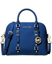 New W/Tags Michael Kors Bedford Legacy Dome Satchel In Vintage Blue/Gold Handbag
