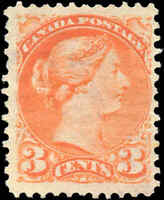 Mint NG Canada 1888 F+ Scott #41 3c Small Queen Issue Stamp