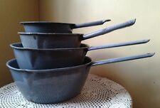 4* Vintage Graniteware Enamelware Gray Mottled Handled Cooking Hanging Pans Pots