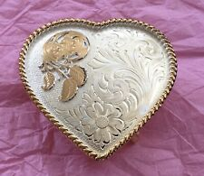 VINTAGE NEW OLD STOCK MONTANA SILVERSMITH SILVER PLATED LITTLE HEART BELT BUCKLE