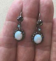 "Vintage Sorrelli Dangle Earrings Oval Opal-White Glass Crystal & Smoke 1 3/8"""