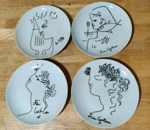 """Jean Cocteau Limoges France Art Porcelain China 7 1/2"""" Dessert Plates 4 Plates"""