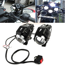 2PCS Black U5 Motorcycle LED Headlight Driving Fog Spot Light Lamp 125W & Switch