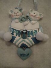 """KSA """"BABY'S 1ST CHRISTMAS ORNAMNT ~ TWIN BOYS"""" ~ Can Be Personalized ~ CUTE"""