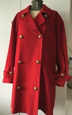 Stunning 80s Jaeger Designer Red Wool Coat Cocoon Oversized Military  UK 10