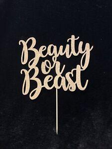 Beauty Or Beast Cake Topper, Gender Reveal, Baby Shower Decor, Glitter Cake