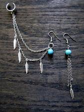 Silver Colour Bohemia StylePunk Rock Leaf Chain Tassel Dangle Ear Cuff Gift