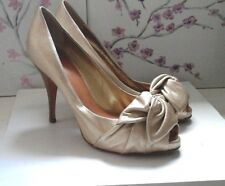 G.Zanotti Design Made Italy Wedding Outfit Real Leather Golden Court Shoes Heels