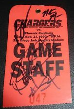 Natrone Means Billy Ray Smith Burt Grossman Signed 1993 Chargers Game Staff Pass
