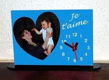 Horloge de bureau personnalisée 1 coeur photo sur fond couleur bleu avec texte