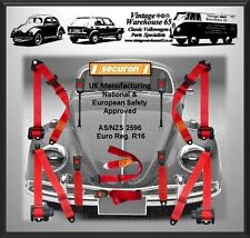 Volkswagen Beetle 1200 1300 Full Set Front & Rear Red Automatic Seat Belt Kit