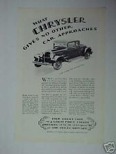 1929 Chrysler 62 Coupe Car Art Trade Promo Print Ad