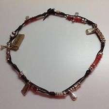 "NWT Uno de 50 Silvertone/Leather Necklace Earth Tones/Coral Beads ""Summer Vibes"""
