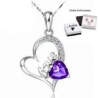 ❤️ Herz Anhänger Lila LOVE Halskette 925 Silber Herzkette Damen Geschenke Frauen