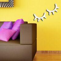 Wooden 3D Eyelash Wall Sticker Decor Girl Cosmetic Kid Room Bedroom Gold Pink