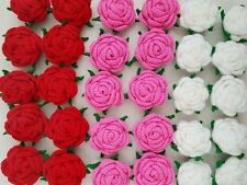 """Lot of 6 Handmade Rose Crochet Flower 2.5"""" Sewing Hat Clip Decor PINK RED WHITE"""