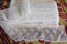 "STUNNING LENGTH ANTIQUE FRENCH SCOLLOPED CREAM ""FERN"" WEDDING LACE 33ft c1910"
