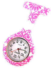 Nurse Silicone Tunic Watch Brooch Fob in Foral Whirls Print