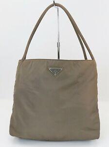 Authentic PRADA Gray Nylon Tote Hand Bag Purse #40104