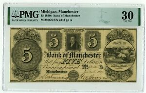1830s $5 Michigan, Manchester Bank of Manchester PMG VF 30 Obsolete Bank Note