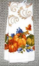Pumpkin Fall Leaves Gold Accents Autumn Dish Kitchen Hand Guest Cotton Towel