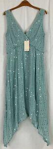 MONSOON 'DOTTIE' Womens Blue Sleeveless Party Dress Size 14 NEW