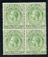 Falkland Islands 1920 KGVI ½d dull yellowish green (block) superb MNH. SG 60d.