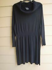 Sweater Dress~XO~Lng Slv~CowelShawl Neck~Ribbed Waist, Cuffs & Hem~SR~$60~Black