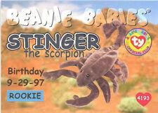 TY Beanie Babies BBOC Card - Series 1 Birthday (SILVER) - STINGER the Scorpion