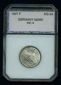 GERMANY EMPIRE  1907-F 1 MARK SILVER COIN, CHOICE UNCIRCULATED!!!