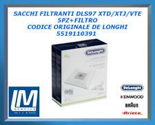 SACCHI FILTRANTI DLS97 XTD/XTJ/VTE 5PZ+FILTRO 5519110391 DE LONGHI ORIGINALE