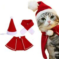 Christmas Clothes Dogs Cats Santa Costume Kitten Puppy Scarf Outfit Cap AU