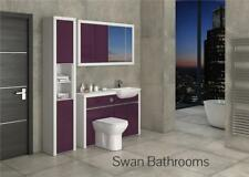 WHITE / AUBERGINE GLOSS BATHROOM FITTED FURNITURE WITH WALL UNITS 1700MM