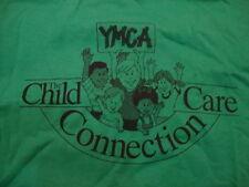 Vintage YMCA Child Care Connection Cartoon Volunteer Green T Shirt XL