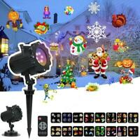 Christmas Laser Projector Lights LED 16 Patterns Xmas Garden Party Outdoor Lamp