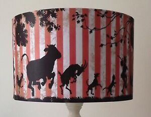 """Animal March Lampshade Lamp/Ceiling 6"""" 8""""10""""12""""14""""16""""18 Blue/Gold Vintage"""