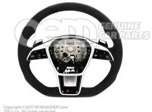 AUDI RS6 RS7 C8 Heated RS ALCANTARA RED Stitching FLAT-BOTTOM steering wheel NEW