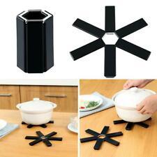 Black Foldable Non-slip Heat Resistant Pad Trivet Pan Pots Holder Mat Kitchen ne