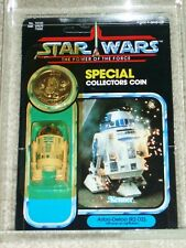 Vintage Star Wars 1985 KENNER AFA 80 R2-D2 POP-UP SABER POTF 92 Card Back MOC UP