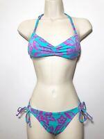 Victoria's Secret XS Bikini Purple Mint Floral Strappy String $80