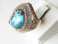 925 Sterling Silver Turkish Ottoman Hurrem Sultan Drop Aquamarine Ring Sz 10.5