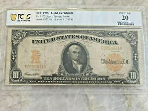 1907 $10 Gold Certificate Federal Reserve Note - PCGS 20 Fr 1172