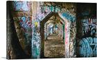ARTCANVAS Graffiti on Abandoned Concrete Arches Debris Canvas Art Print