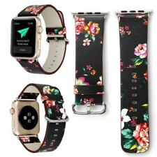 Colorful Flower Leather Bracelet Strap Watch Band for Apple Watch Series 1/2/3