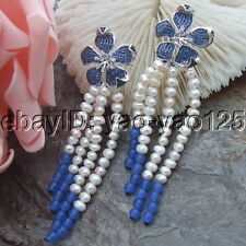H072113 White  Pearl Blue Jade Earrings Cz  Pave Flower Stud